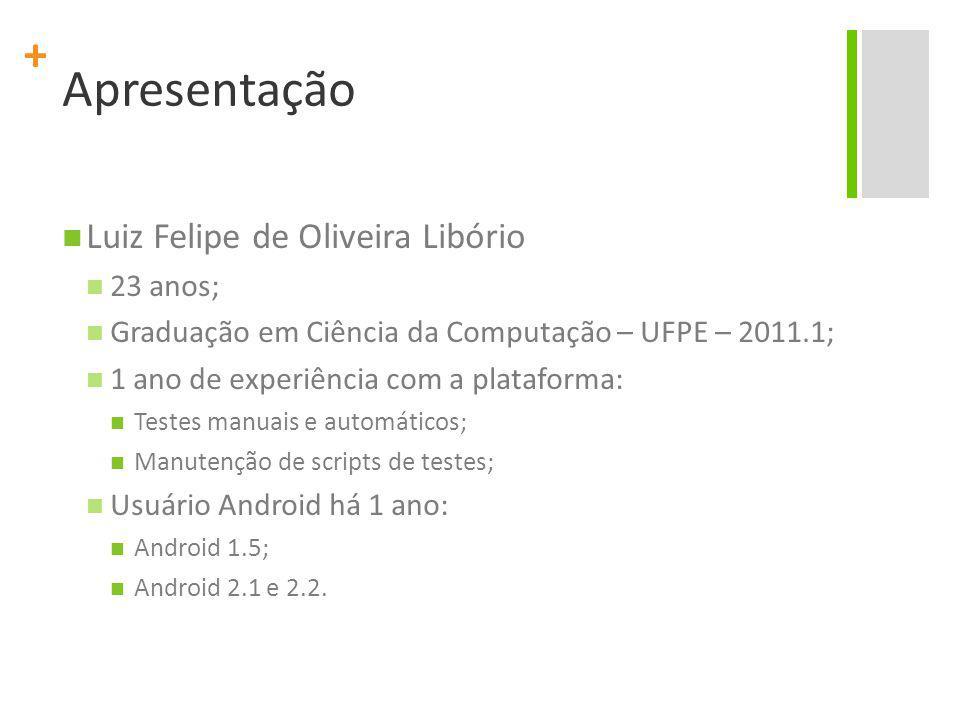 + Apresentação Luiz Felipe de Oliveira Libório 23 anos; Graduação em Ciência da Computação – UFPE – 2011.1; 1 ano de experiência com a plataforma: Tes