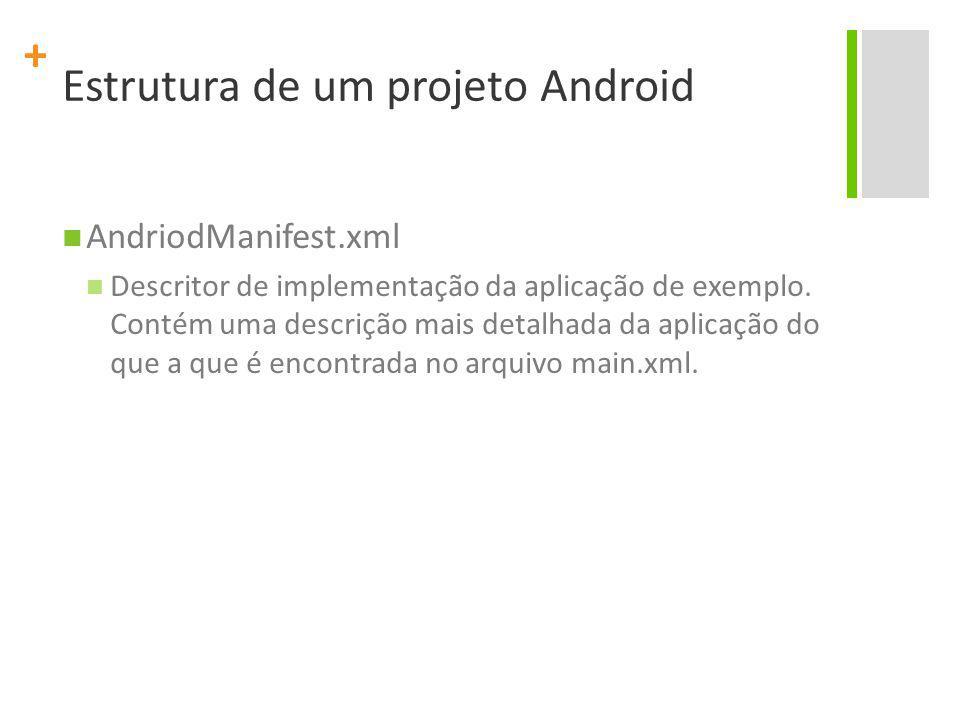 + Estrutura de um projeto Android AndriodManifest.xml Descritor de implementação da aplicação de exemplo. Contém uma descrição mais detalhada da aplic