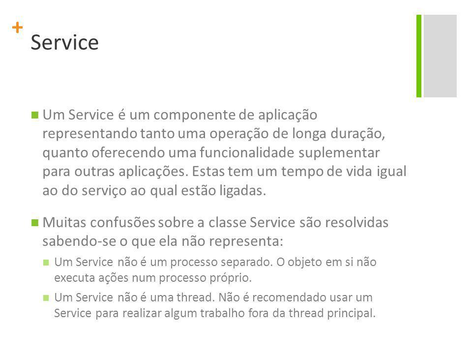 + Service Um Service é um componente de aplicação representando tanto uma operação de longa duração, quanto oferecendo uma funcionalidade suplementar para outras aplicações.
