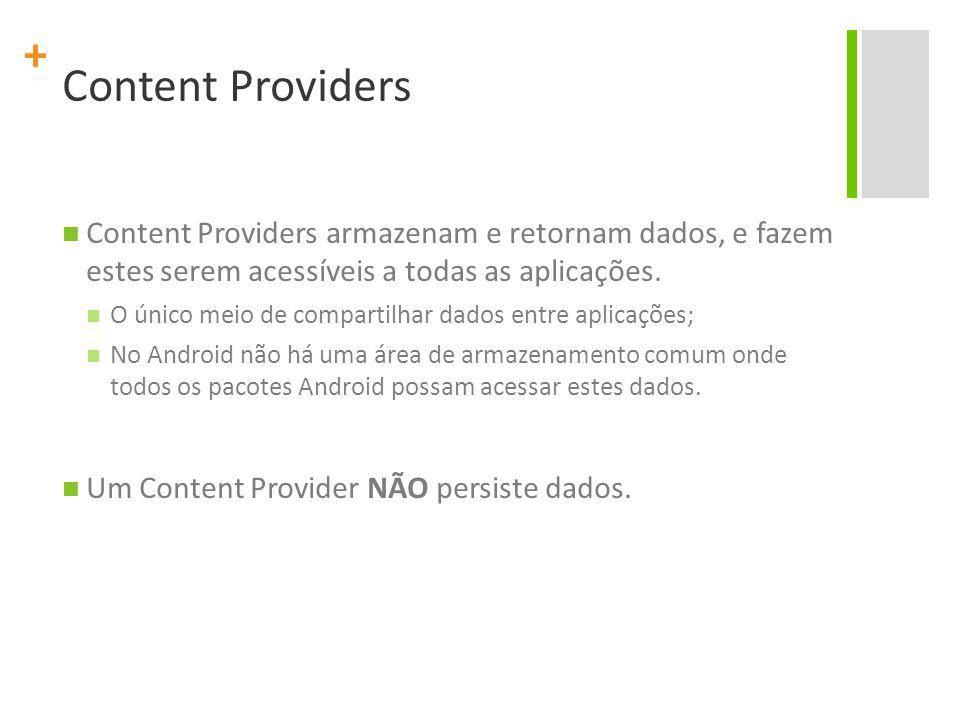 + Content Providers Content Providers armazenam e retornam dados, e fazem estes serem acessíveis a todas as aplicações.