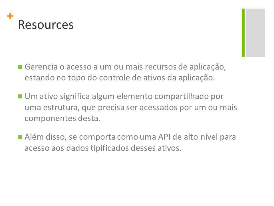 + Resources Gerencia o acesso a um ou mais recursos de aplicação, estando no topo do controle de ativos da aplicação.