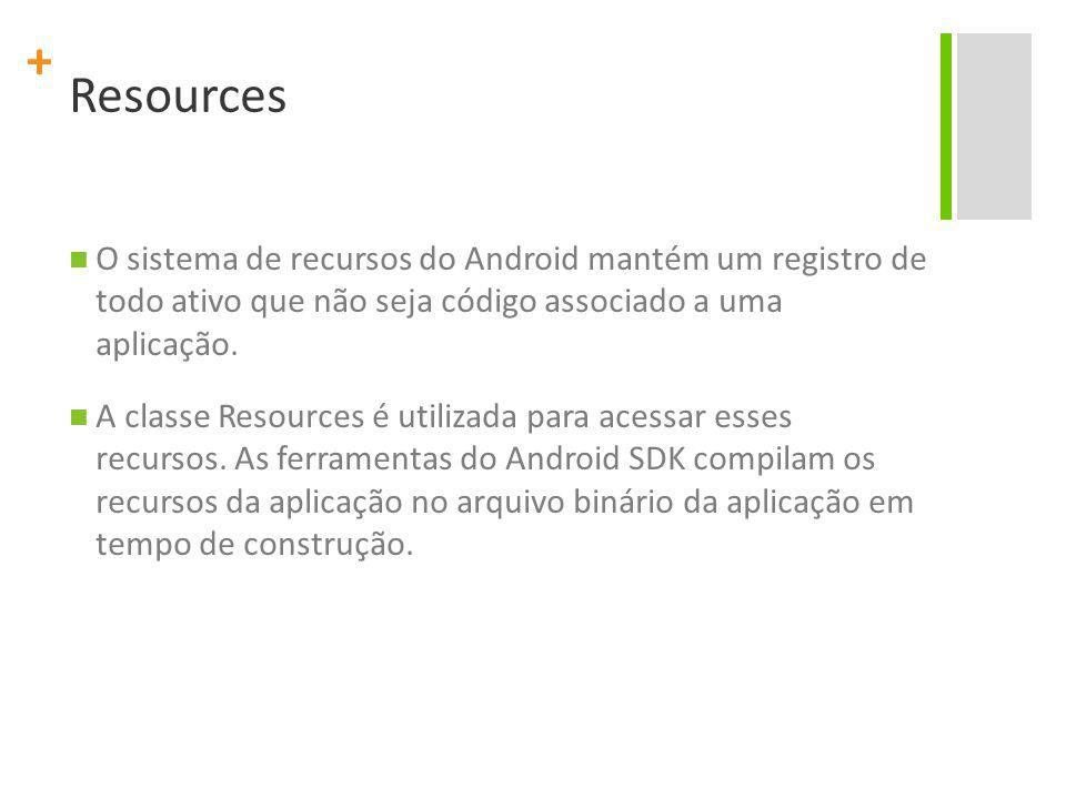 + Resources O sistema de recursos do Android mantém um registro de todo ativo que não seja código associado a uma aplicação.