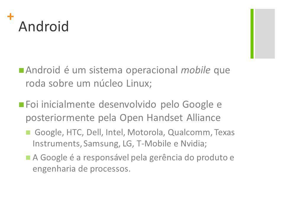 + Android Android é um sistema operacional mobile que roda sobre um núcleo Linux; Foi inicialmente desenvolvido pelo Google e posteriormente pela Open