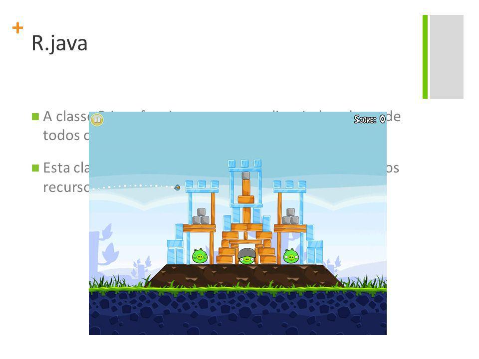 + R.java A classe R.java funciona como uma lista indexada, onde todos os recursos do projeto estão definidos.