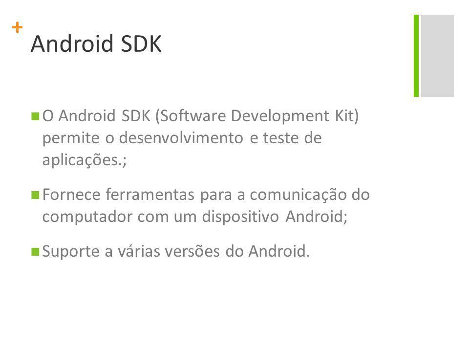 + Android SDK O Android SDK (Software Development Kit) permite o desenvolvimento e teste de aplicações.; Fornece ferramentas para a comunicação do computador com um dispositivo Android; Suporte a várias versões do Android.