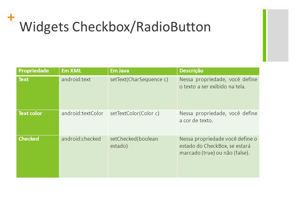 + Widgets Checkbox/RadioButton PropriedadeEm XMLEm JavaDescrição Text android:text setText(CharSequence c) Nessa propriedade, você define o texto a se