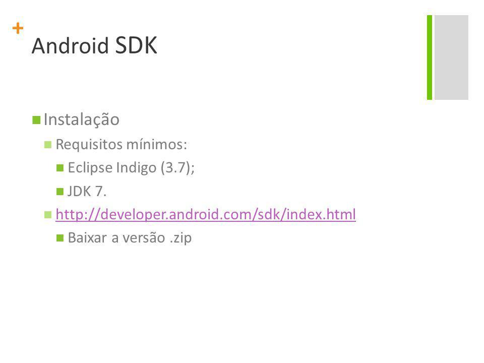 + Android SDK Instalação Requisitos mínimos: Eclipse Indigo (3.7); JDK 7. http://developer.android.com/sdk/index.html Baixar a versão.zip
