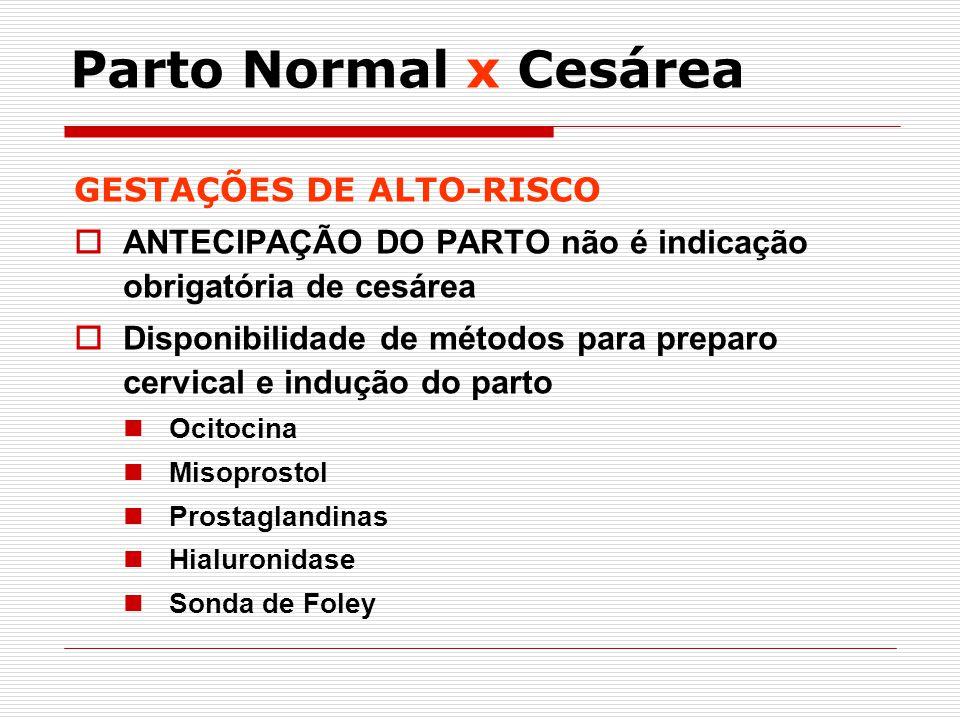 GESTAÇÕES DE ALTO-RISCO ANTECIPAÇÃO DO PARTO não é indicação obrigatória de cesárea Disponibilidade de métodos para preparo cervical e indução do part