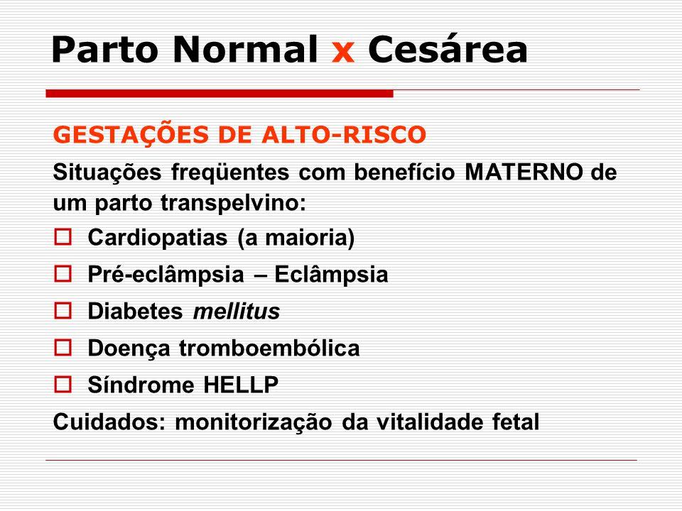 GESTAÇÕES DE ALTO-RISCO Situações freqüentes com benefício MATERNO de um parto transpelvino: Cardiopatias (a maioria) Pré-eclâmpsia – Eclâmpsia Diabet