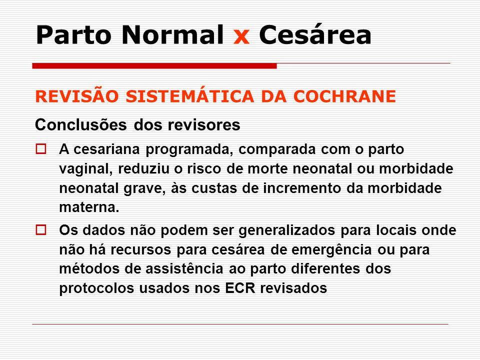 REVISÃO SISTEMÁTICA DA COCHRANE Conclusões dos revisores A cesariana programada, comparada com o parto vaginal, reduziu o risco de morte neonatal ou m