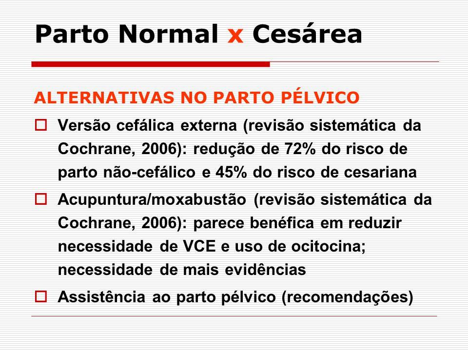 ALTERNATIVAS NO PARTO PÉLVICO Versão cefálica externa (revisão sistemática da Cochrane, 2006): redução de 72% do risco de parto não-cefálico e 45% do