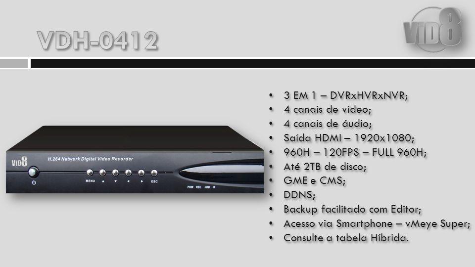 3 EM 1 – DVRxHVRxNVR; 8 canais de vídeo; 4 canais de áudio; Saída HDMI – 1920x1080; D1 – 240FPS – FULL D1; Até 2TB de disco; GME e CMS; DDNS; Backup facilitado com Editor; Acesso via Smartphone – vMeye Super; Consulte a tabela Híbrida.