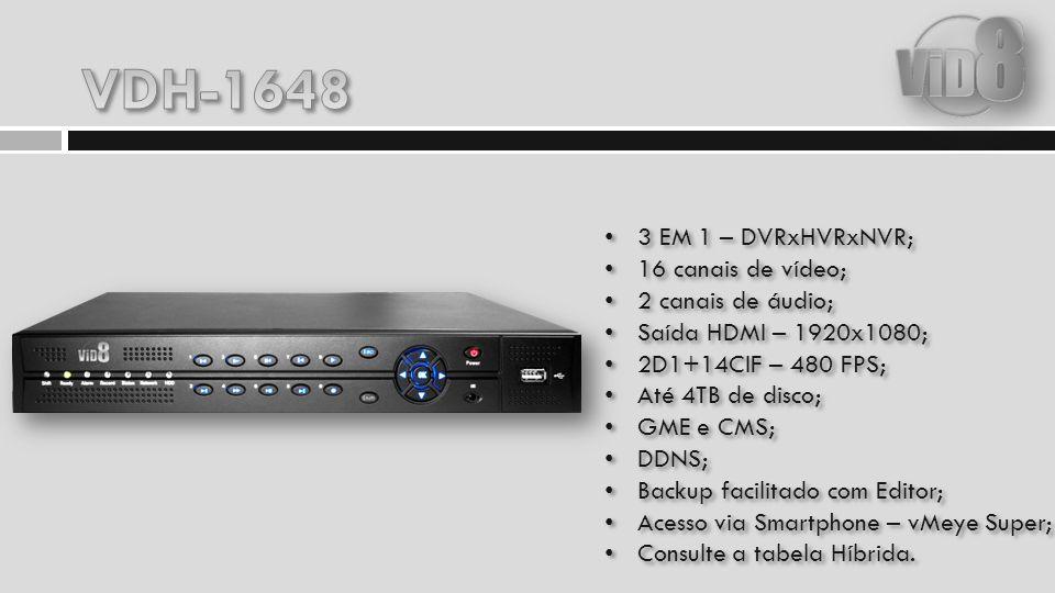 3 EM 1 – DVRxHVRxNVR; 16 canais de vídeo; 4 canais de áudio; 8 entradas de alarme; 1 saída de alarme; Saída HDMI – 1920x1080; 960H – 480 FPS – FULL 960H; Até 4TB de disco; GME e CMS; DDNS; Backup facilitado com Editor; Acesso via Smartphone – vMeye Super; Consulte a tabela Híbrida.