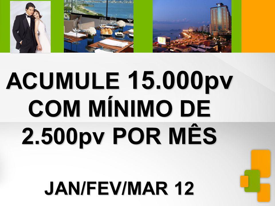 MINIEXTRAVAGANZAFLORIANÓPOLIS ACUMULE 15.000pv COM MÍNIMO DE 2.500pv POR MÊS JAN/FEV/MAR 12