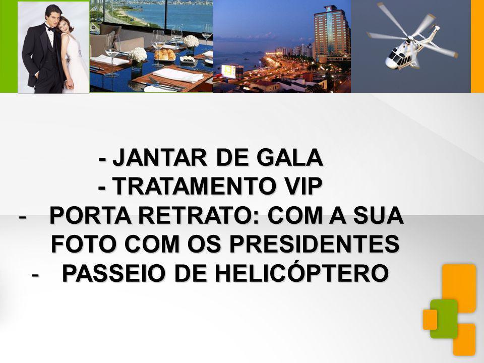 MINIEXTRAVAGANZAFLORIANÓPOLIS - JANTAR DE GALA - TRATAMENTO VIP -PORTA RETRATO: COM A SUA FOTO COM OS PRESIDENTES -PASSEIO DE HELICÓPTERO