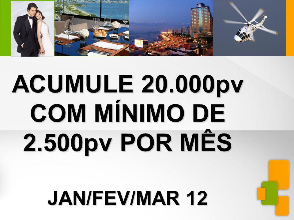 MINIEXTRAVAGANZAFLORIANÓPOLIS ACUMULE 20.000pv COM MÍNIMO DE 2.500pv POR MÊS JAN/FEV/MAR 12