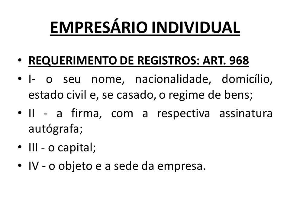 EMPRESÁRIO INDIVIDUAL REQUERIMENTO DE REGISTROS: ART.