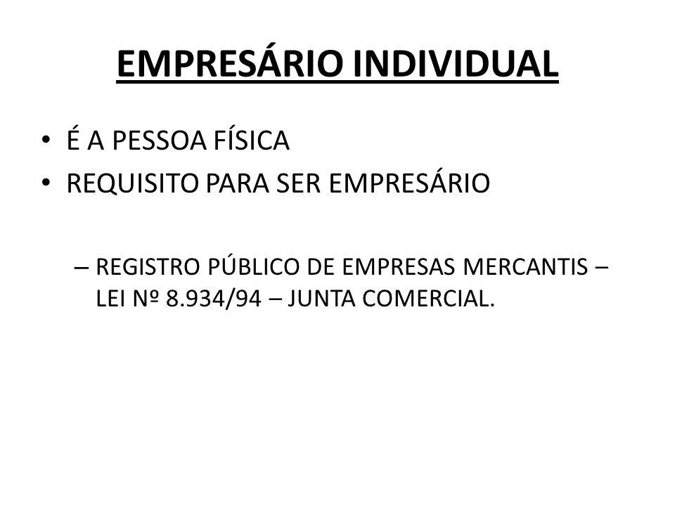 EMPRESÁRIO INDIVIDUAL É A PESSOA FÍSICA REQUISITO PARA SER EMPRESÁRIO – REGISTRO PÚBLICO DE EMPRESAS MERCANTIS – LEI Nº 8.934/94 – JUNTA COMERCIAL.