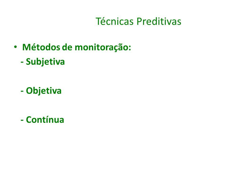 Técnicas Preditivas Métodos de monitoração: - Subjetiva - Objetiva - Contínua