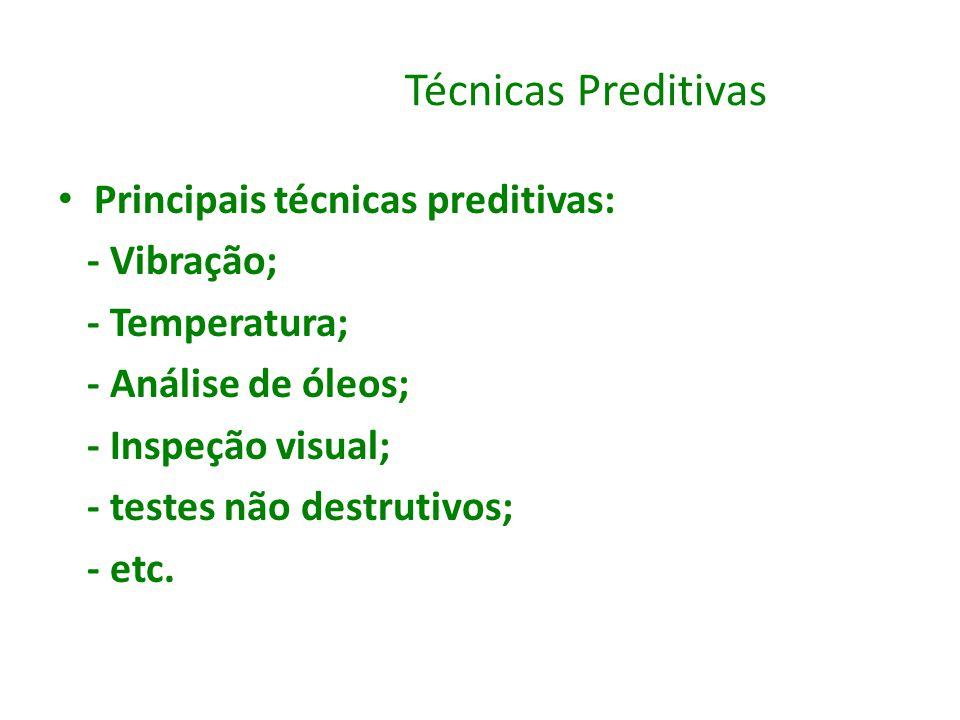 Técnicas Preditivas Principais técnicas preditivas: - Vibração; - Temperatura; - Análise de óleos; - Inspeção visual; - testes não destrutivos; - etc.