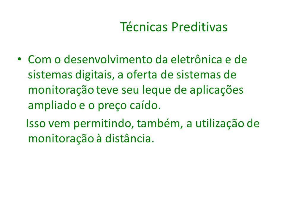 Técnicas Preditivas Com o desenvolvimento da eletrônica e de sistemas digitais, a oferta de sistemas de monitoração teve seu leque de aplicações ampli