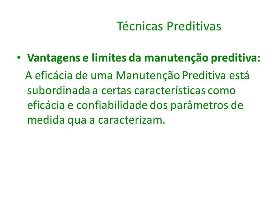 Técnicas Preditivas Vantagens e limites da manutenção preditiva: A eficácia de uma Manutenção Preditiva está subordinada a certas características como