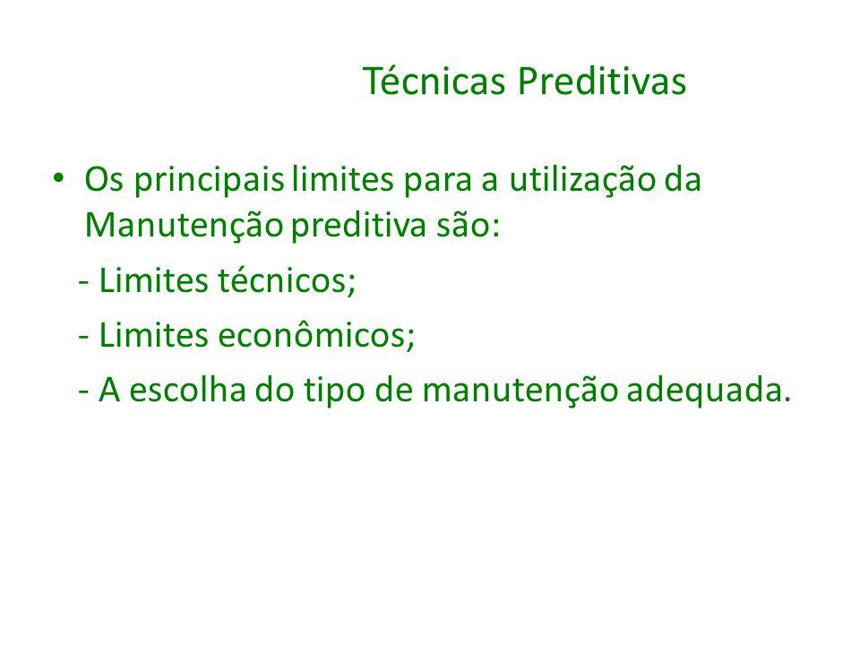 Técnicas Preditivas Os principais limites para a utilização da Manutenção preditiva são: - Limites técnicos; - Limites econômicos; - A escolha do tipo