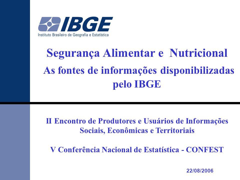 Segurança Alimentar e Nutricional As fontes de informações disponibilizadas pelo IBGE II Encontro de Produtores e Usuários de Informações Sociais, Econômicas e Territoriais V Conferência Nacional de Estatística - CONFEST 22/08/2006