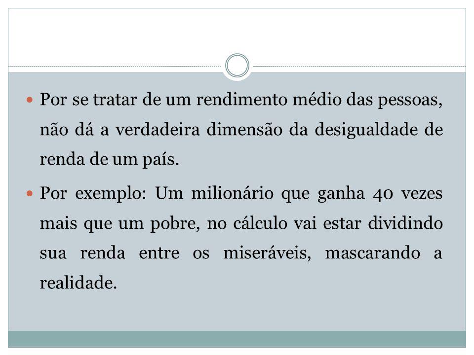 Por se tratar de um rendimento médio das pessoas, não dá a verdadeira dimensão da desigualdade de renda de um país.