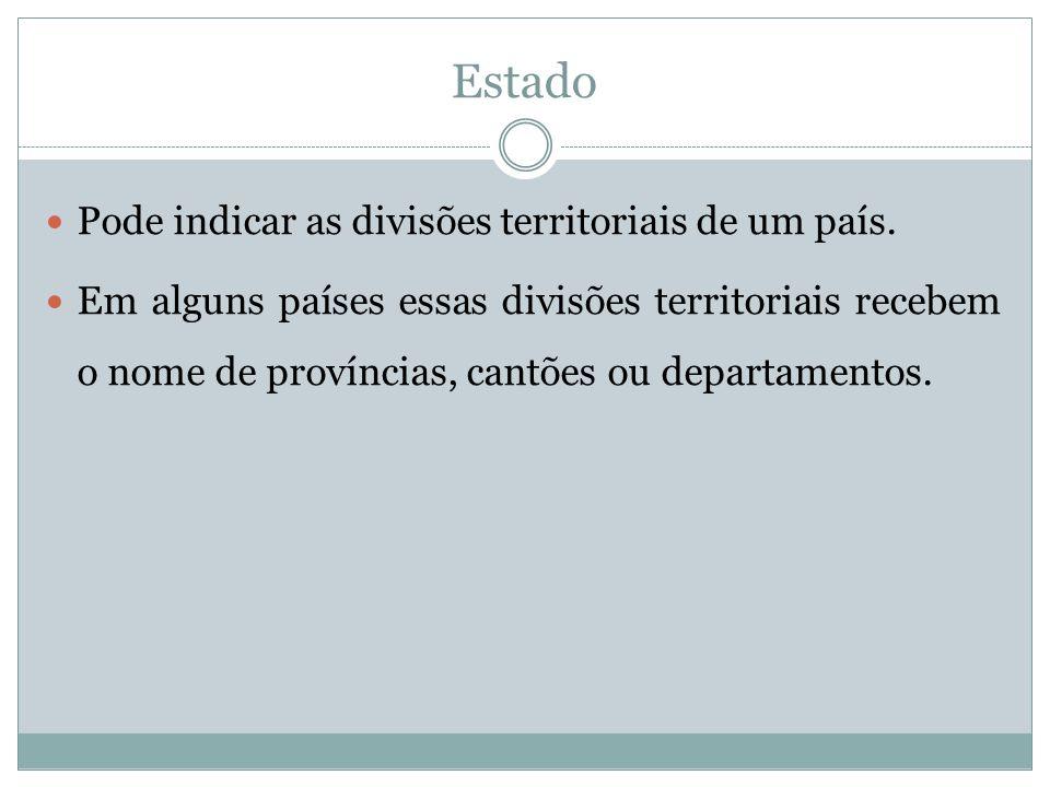 Estado Pode indicar as divisões territoriais de um país.