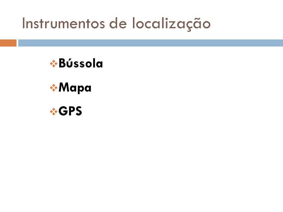 Instrumentos de localização Bússola Mapa GPS
