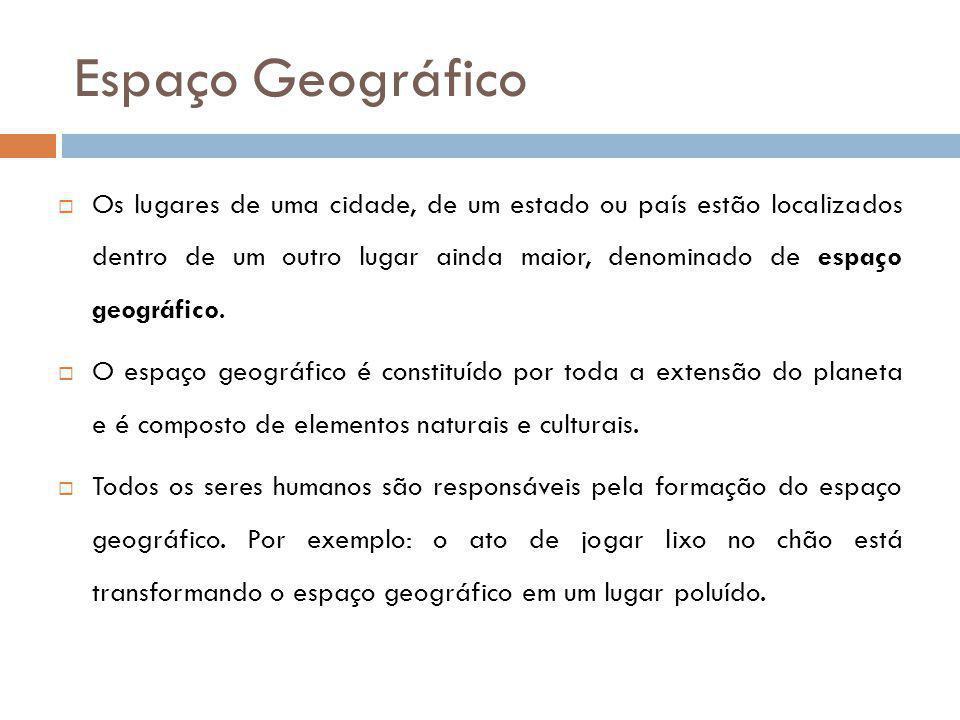 Espaço Geográfico Os lugares de uma cidade, de um estado ou país estão localizados dentro de um outro lugar ainda maior, denominado de espaço geográfi
