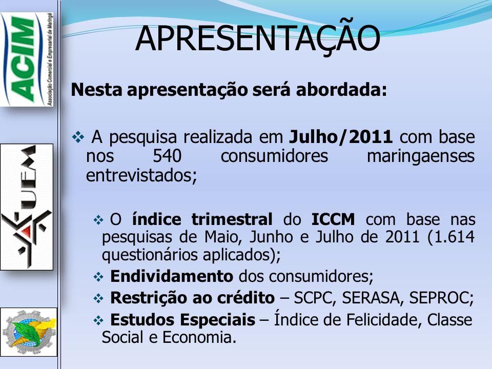 ICCM –Julho de 2011ICCM –Julho de 2011 Índices Jul/10Jun/11Jul/11 pp (3)-(2) pp (3)-(1) ISF – Índice de Satisfação Financeira 145,7159,1146,7 -12,40,9 IER – Índice de Expectativa de Renda 120,2110,3113,1 2,9-7,0 IEE – Índice de Expectativa de Emprego 118,9119,8 0,00,9 IEC – Índice de Expectativa de Consumo 142,6130,1132,0 1,9-10,6 IEN – Índice de Expectativa Nacional 120,9139,8141,7 1,920,7 ICCM 129,7131,8130,7 -1,11,0