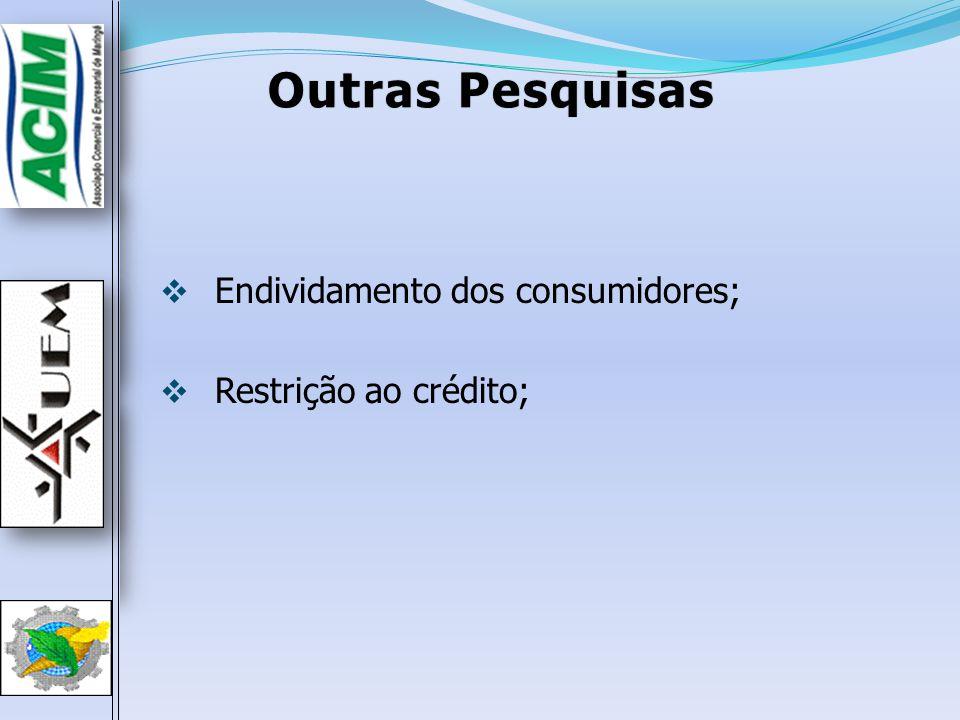 Endividamento dos consumidores; Restrição ao crédito; Outras PesquisasOutras Pesquisas