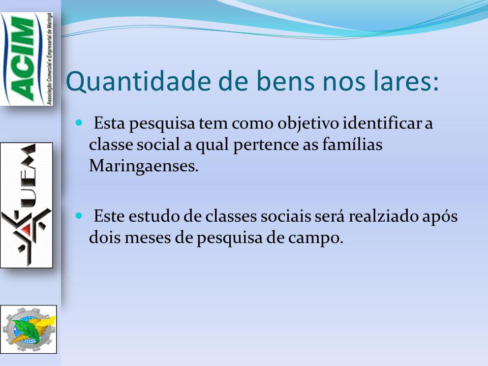 Quantidade de bens nos lares: Esta pesquisa tem como objetivo identificar a classe social a qual pertence as famílias Maringaenses. Este estudo de cla