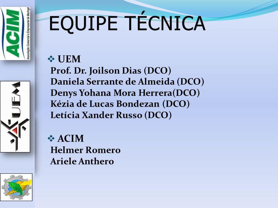 EQUIPE TÉCNICAEQUIPE TÉCNICA UEM Prof. Dr. Joilson Dias (DCO) Daniela Serrante de Almeida (DCO) Denys Yohana Mora Herrera(DCO) Kézia de Lucas Bondezan
