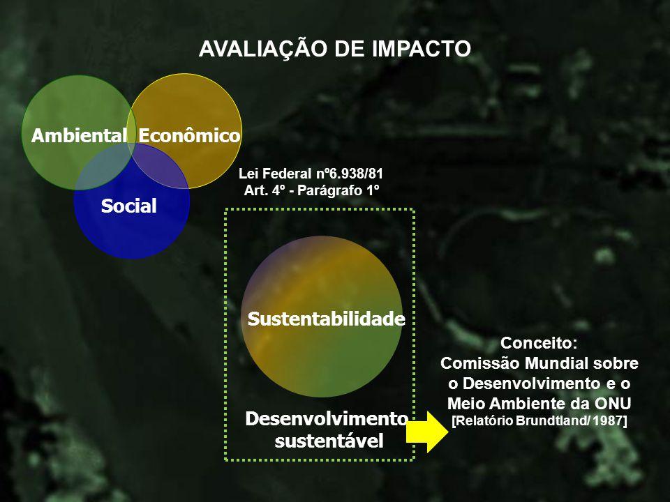 Econômico Social Ambiental Sustentabilidade Desenvolvimento sustentável Lei Federal nº6.938/81 Art. 4º - Parágrafo 1º Conceito: Comissão Mundial sobre