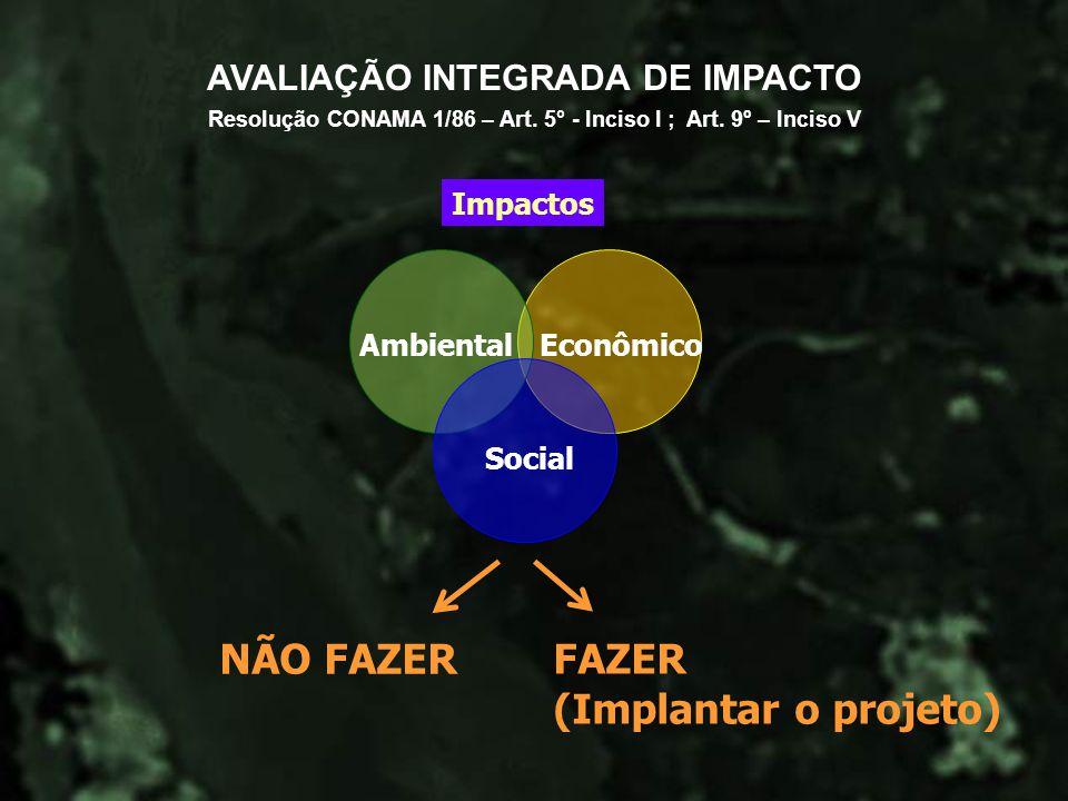 AVALIAÇÃO INTEGRADA DE IMPACTO Impactos NÃO FAZER FAZER (Implantar o projeto) Ambiental Social Econômico Resolução CONAMA 1/86 – Art. 5° - Inciso I ;