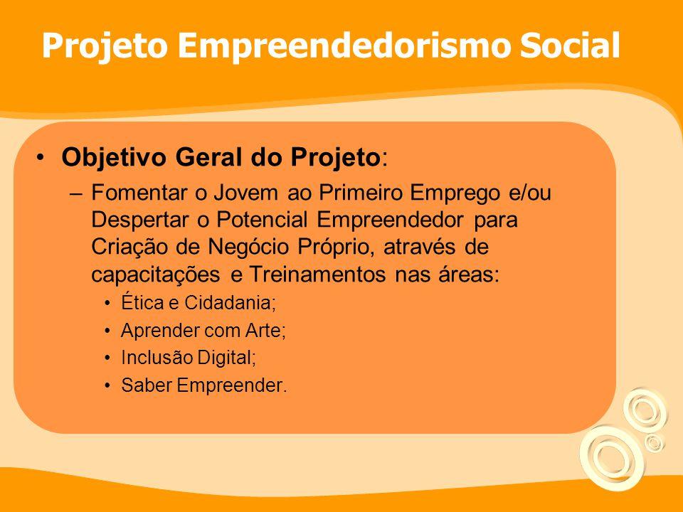 Objetivo Geral do Projeto: –Fomentar o Jovem ao Primeiro Emprego e/ou Despertar o Potencial Empreendedor para Criação de Negócio Próprio, através de c