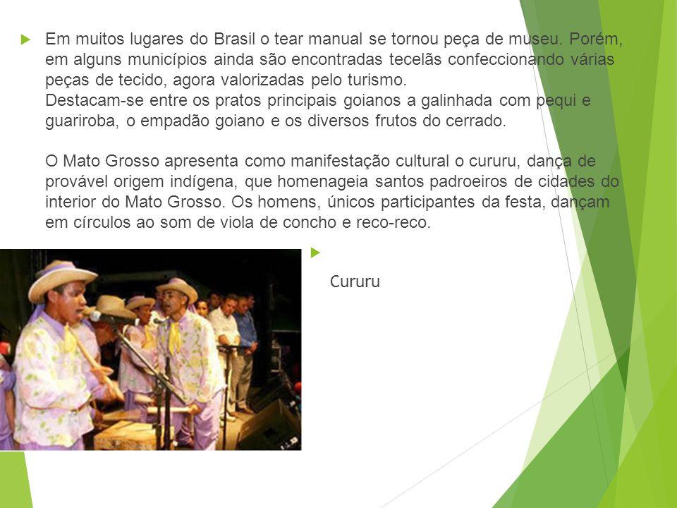 Manifestações culturais A cultura do Centro-Oeste brasileiro é bem diversificada, pois recebeu contribuições principalmente dos indígenas, paulistas,