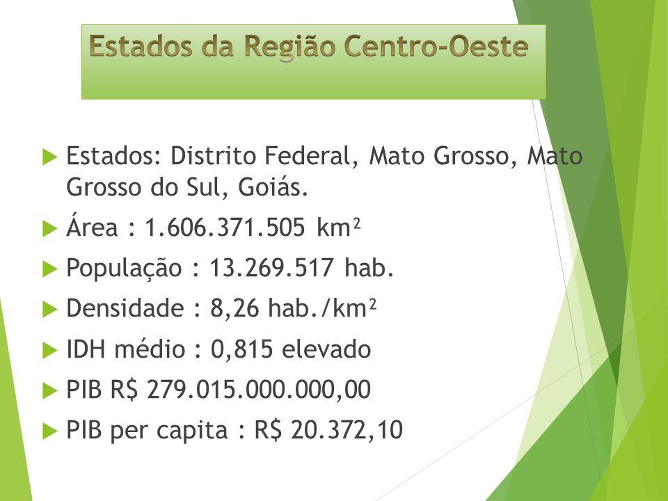 Estados: Distrito Federal, Mato Grosso, Mato Grosso do Sul, Goiás.