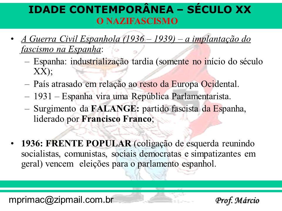 IDADE CONTEMPORÂNEA – SÉCULO XX Prof. Márcio mprimac@zipmail.com.br O NAZIFASCISMO A Guerra Civil Espanhola (1936 – 1939) – a implantação do fascismo