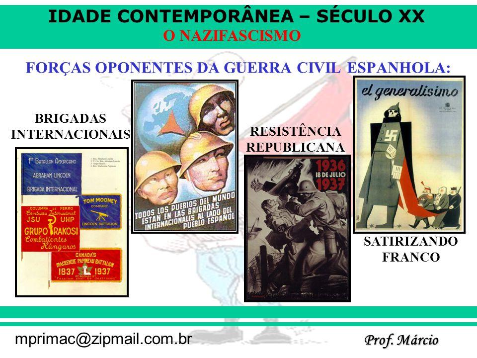 IDADE CONTEMPORÂNEA – SÉCULO XX Prof. Márcio mprimac@zipmail.com.br O NAZIFASCISMO FORÇAS OPONENTES DA GUERRA CIVIL ESPANHOLA: BRIGADAS INTERNACIONAIS