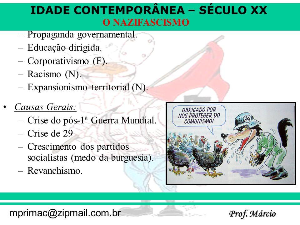 IDADE CONTEMPORÂNEA – SÉCULO XX Prof. Márcio mprimac@zipmail.com.br O NAZIFASCISMO –Propaganda governamental. –Educação dirigida. –Corporativismo (F).