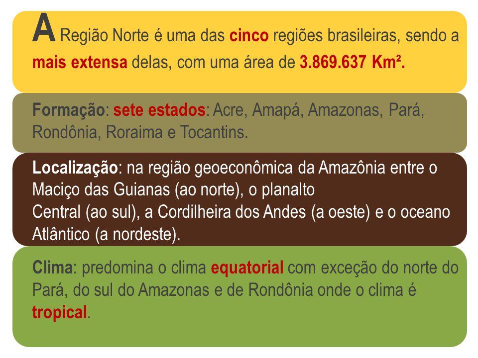 A Região Norte é uma das cinco regiões brasileiras, sendo a mais extensa delas, com uma área de 3.869.637 Km². Formação : sete estados : Acre, Amapá,
