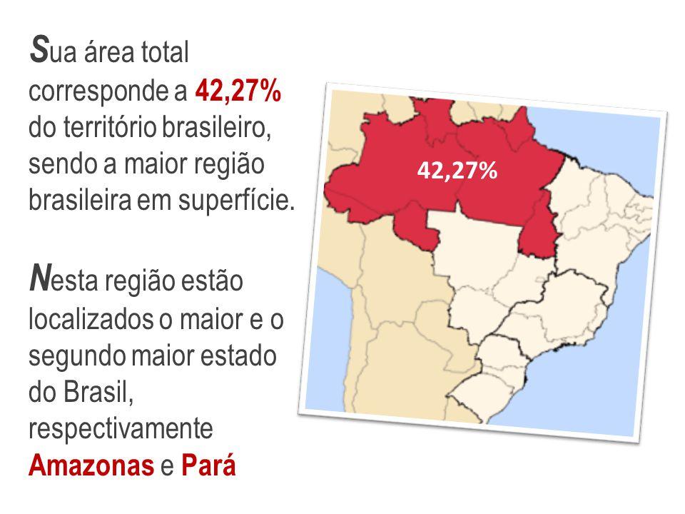 S ua área total corresponde a 42,27% do território brasileiro, sendo a maior região brasileira em superfície. N esta região estão localizados o maior