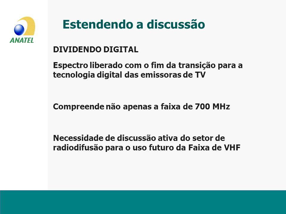 Estendendo a discussão DIVIDENDO DIGITAL Espectro liberado com o fim da transição para a tecnologia digital das emissoras de TV Compreende não apenas