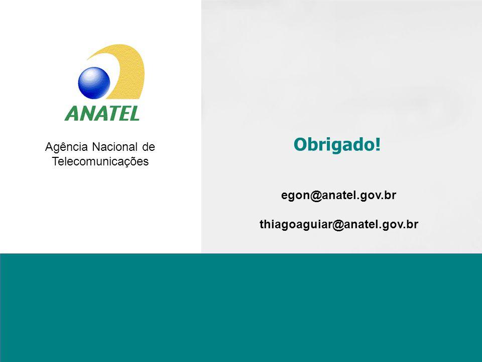 Agência Nacional de Telecomunicações Obrigado! egon@anatel.gov.br thiagoaguiar@anatel.gov.br