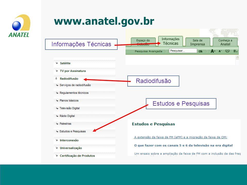 www.anatel.gov.br Informações Técnicas Radiodifusão Estudos e Pesquisas