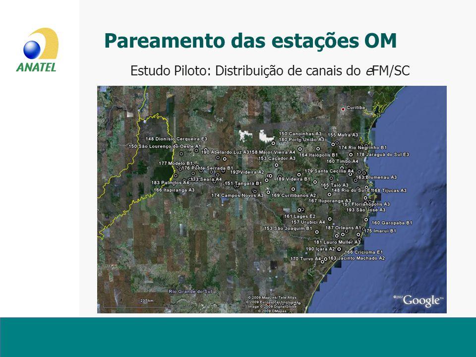 Estudo Piloto: Distribuição de canais do eFM/SC Pareamento das estações OM